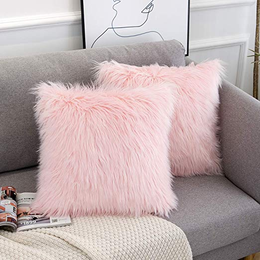 wlnui decorative pink fluffy pillow