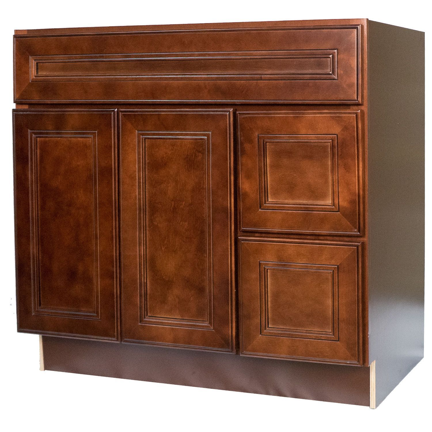 36 Inch Bathroom Vanity Single Sink Cabinet in Leo Saddle Dark