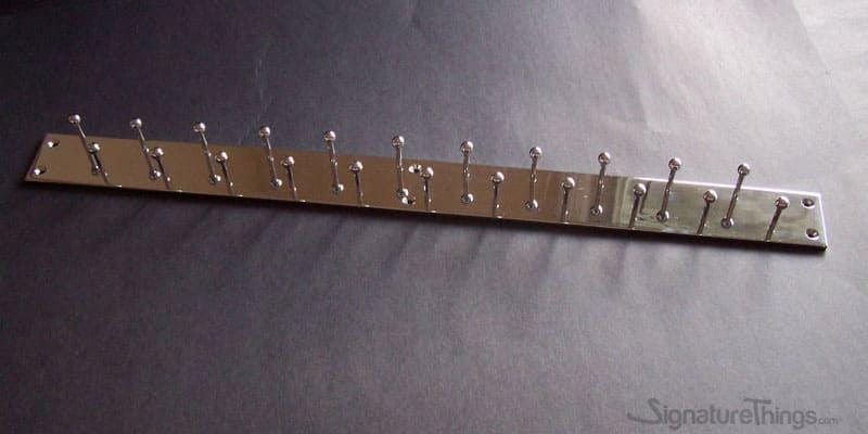 Double Row Tie Racks Wall Mounted Coat Hook Racks 2 Wide Brass Hook Bar Custom Brass Finish Decorative Wall Hooks Tie Rack Brass Wall Hook