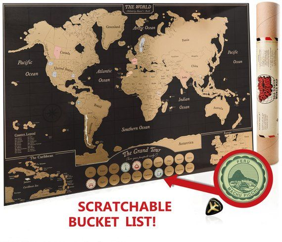 Scratch f World Map Poster Travel Journal as Travel Decor