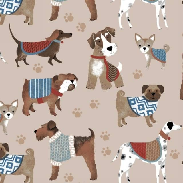 Dogs Puppies Print Fleece Fabric Textile Anti Pilling
