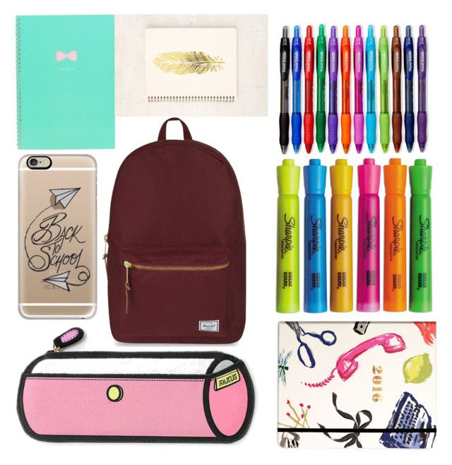 """""""school supplies"""" by noysegal5 on Polyvore featuring interior, interiors, interior design, home, home decor, interior decorating, Casetify, Herschel Supply Co., Paper Mate and Sharpie"""