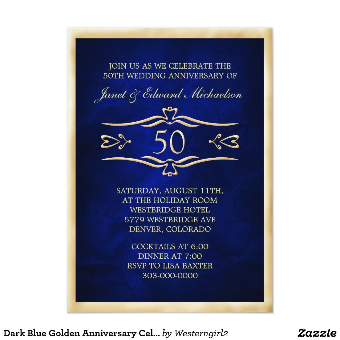 Dark Blue Golden Anniversary Celebration Invite All Shop Sales