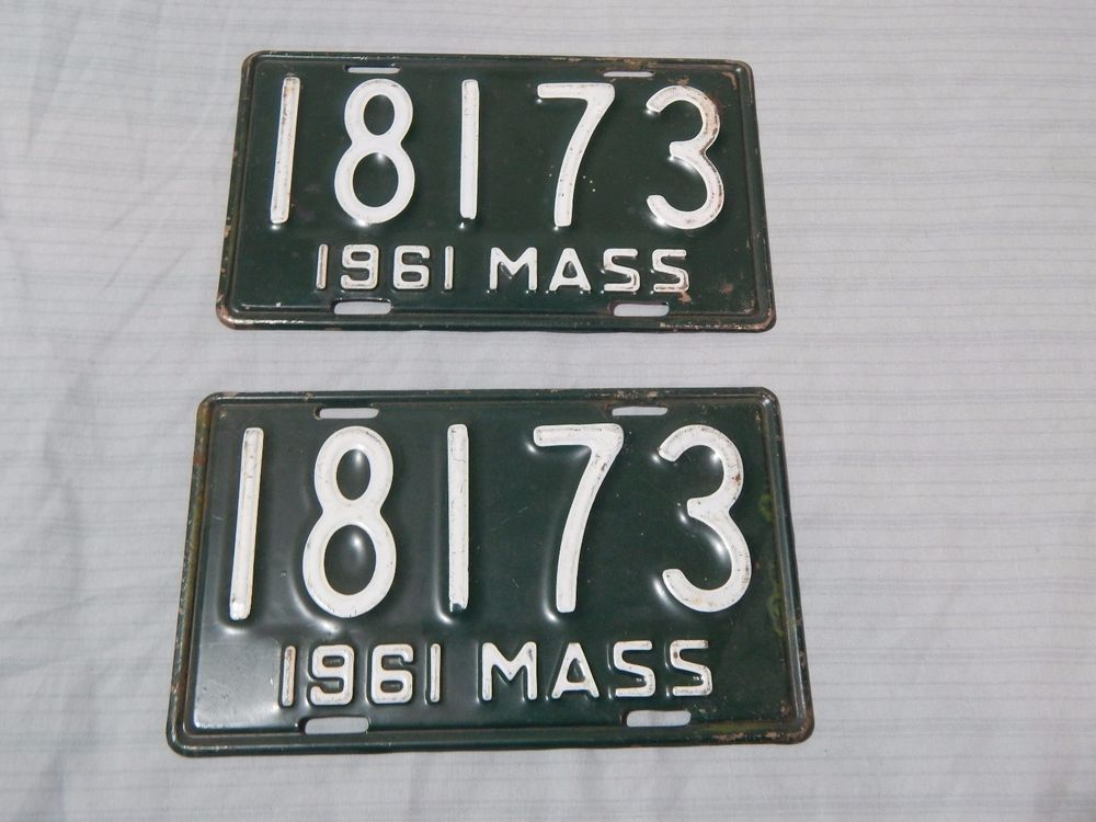 Vintage Massachusetts 1961 Motorcycle License Plate Pair | License ...