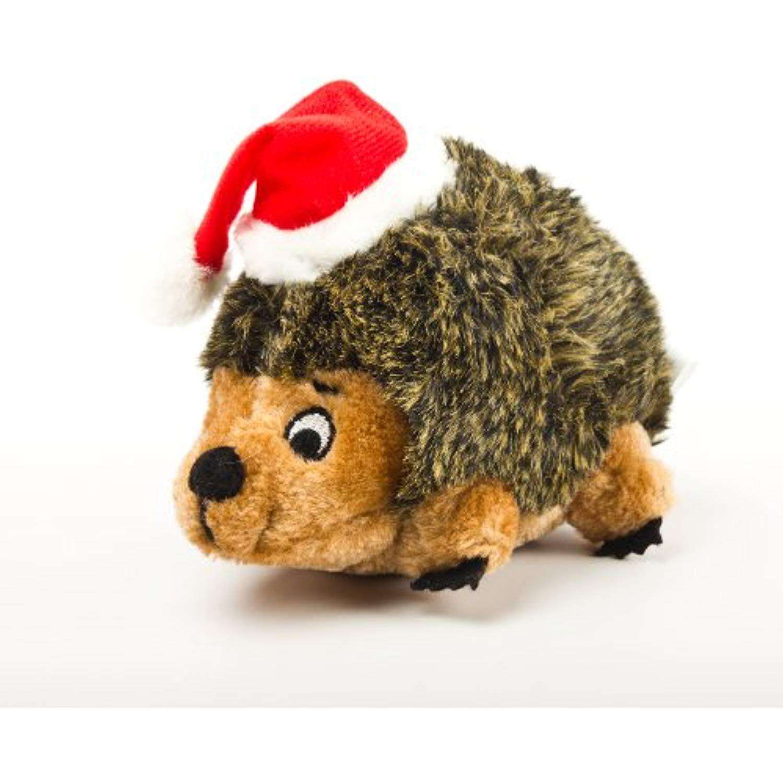 Outward Hound Holiday Hedgehog Plush Dog Toy Small Brown