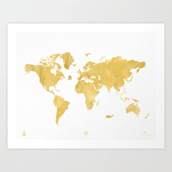 Buy GOLD WORLD MAP by MaximusType as a high quality Art Print