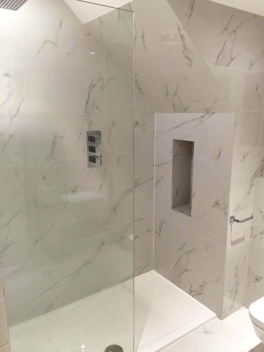 Marc Tiling Mitred The Edges Of Our Thin Stone Effect Porcelain Tiles To Give A Clean And Seamless Finish Walk In Shower Enclosure This Lovely