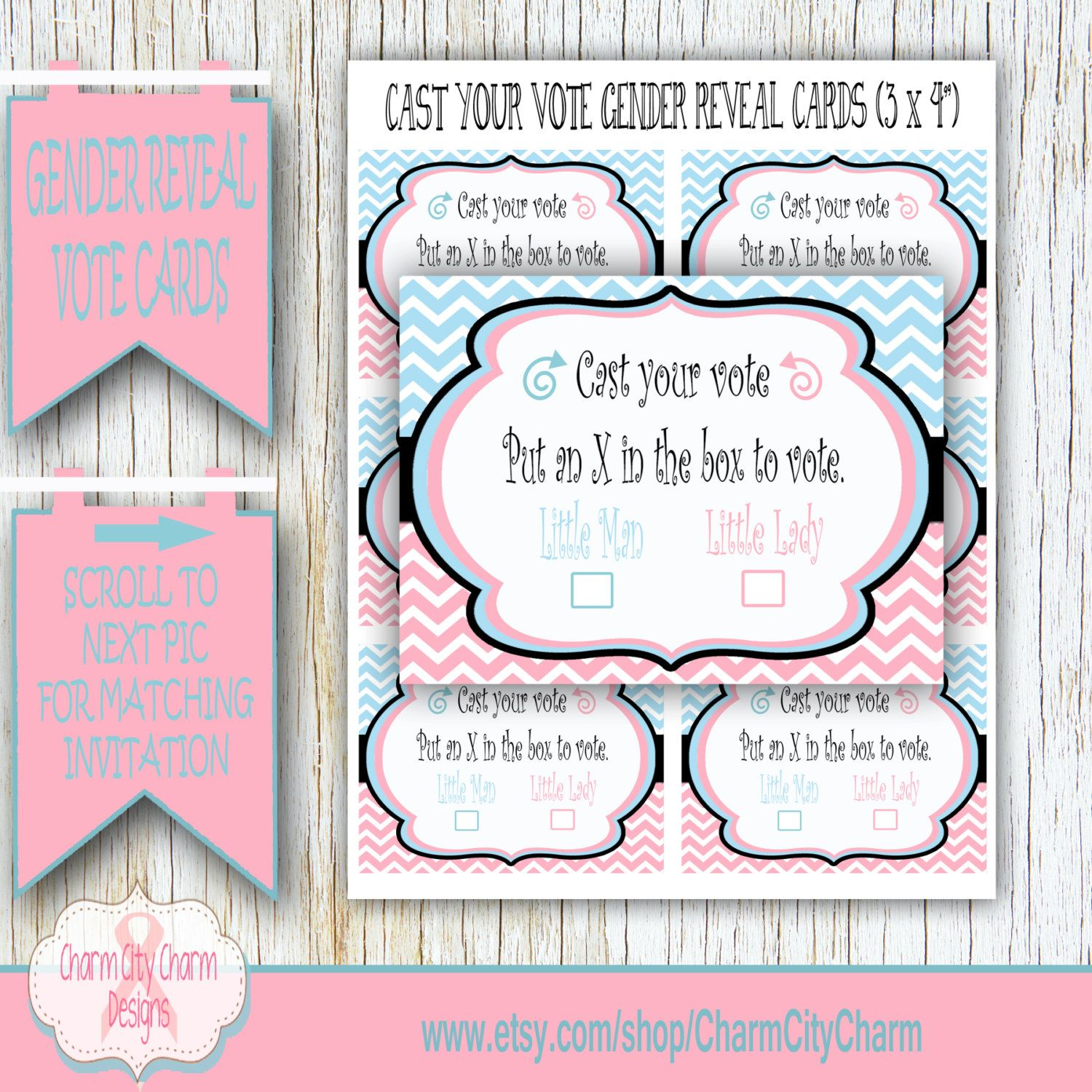 Cast Your Vote Cards Gender Reveal Shower Reveal Shower Boy or