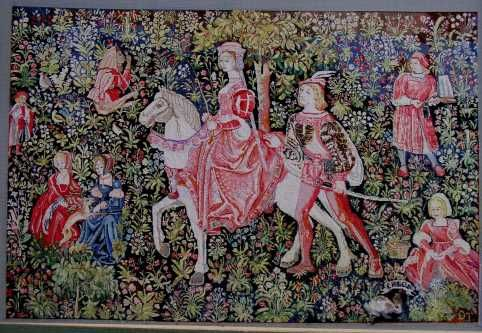 Scenes Galantes Medieval Wall Tapestry mono deluxe Needlepoint Canvas 8 x 10 inches