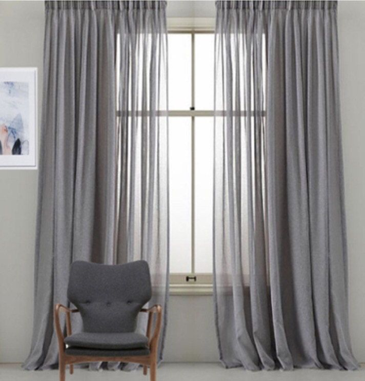 Custom Faux Sheer Linen Drapery Panels Pinch Pleat French Pleat Inverted Pleat Grommet Top Faux Linen Sheer Curtains 9 Colors Curtains With Blinds Curtains Living Room Gray Sheer Curtains
