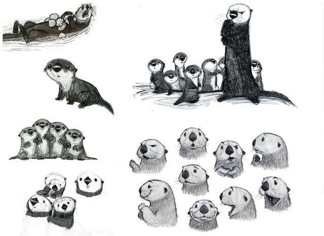 File:Finding Dory Otters Concept Art.jpg | Dibujos | Pinterest ...