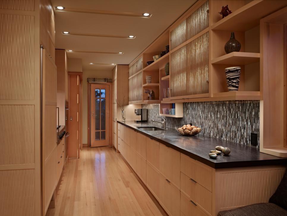 Contemporary Galley Kitchen Features Cedar Cabinets Kitchen Cabinets Pictures Kitchen Sink Design Kitchen Design