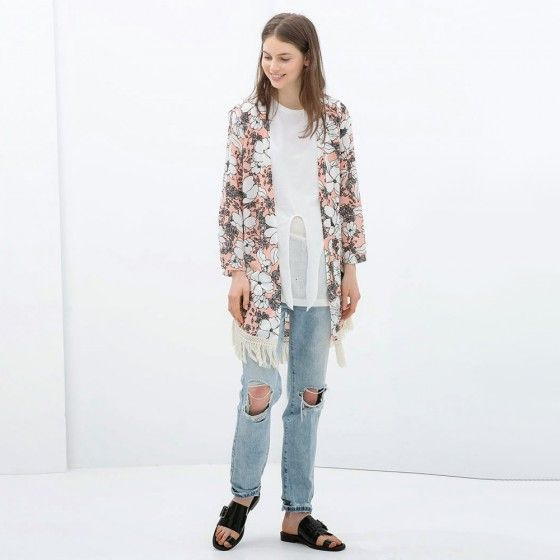 Hot Women Outerwear Floral Print Tassel Long Sleeve Loose Casual ...