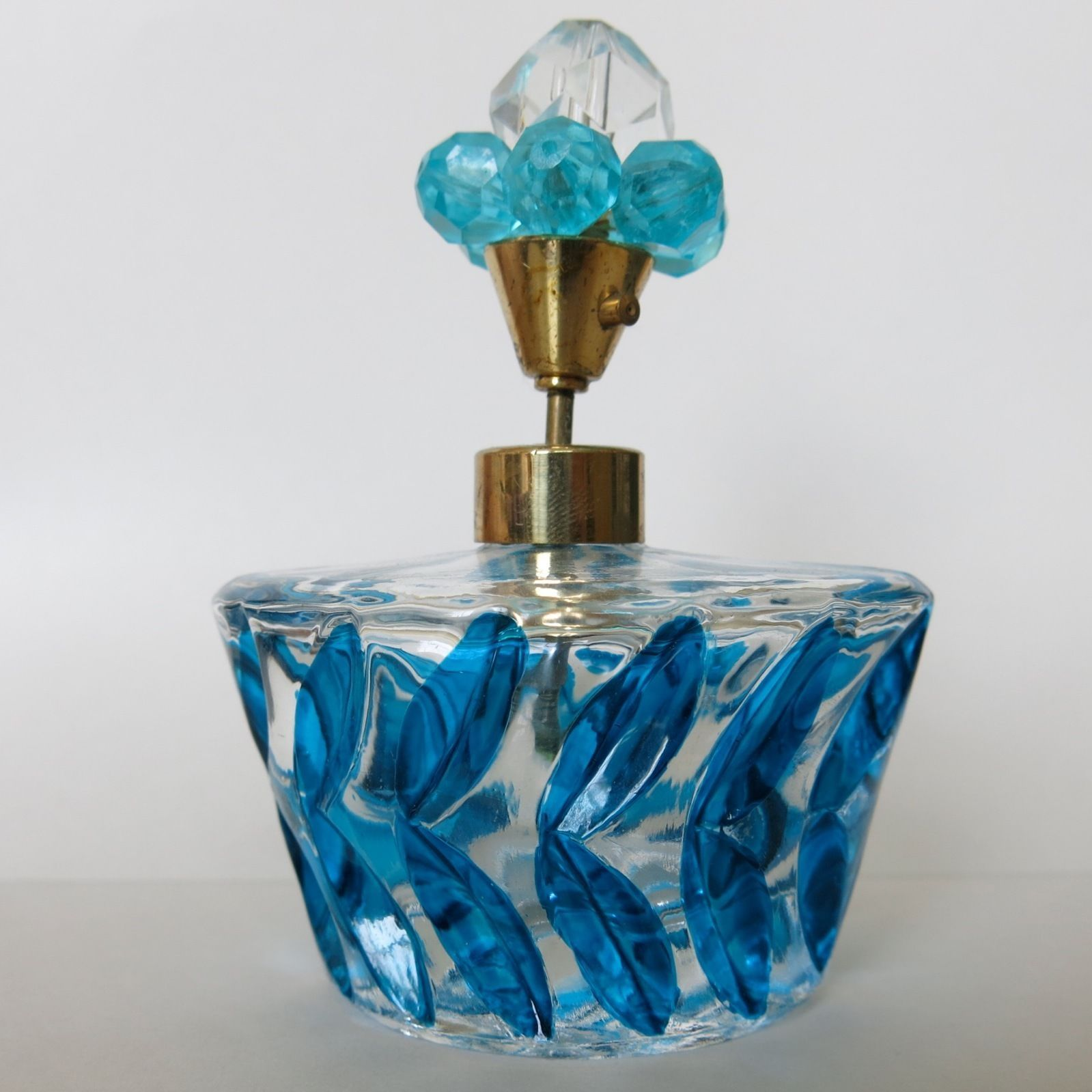 vtg 1950s 60s art cut glass jeweled topper blue atomizer perfume
