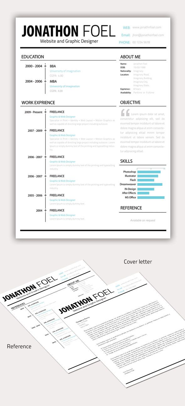 Minimal Resume CV Template Graphic resume, Resume styles and Cv