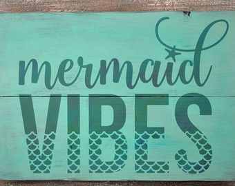 Mermaid Sign - Mermaid Decor - Rustic Wood Sign - Mermaid Kisses and Starfish Wishes - Mermaid Wall Decor - Beach Theme Decor - Beach Sign #mermaidsign Mermaid Sign Mermaid Decor Rustic Wood Sign Mermaid #mermaidsign