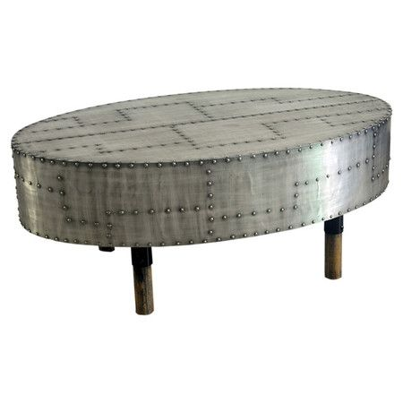 Aluminum coffee table with studded detail Product Coffee
