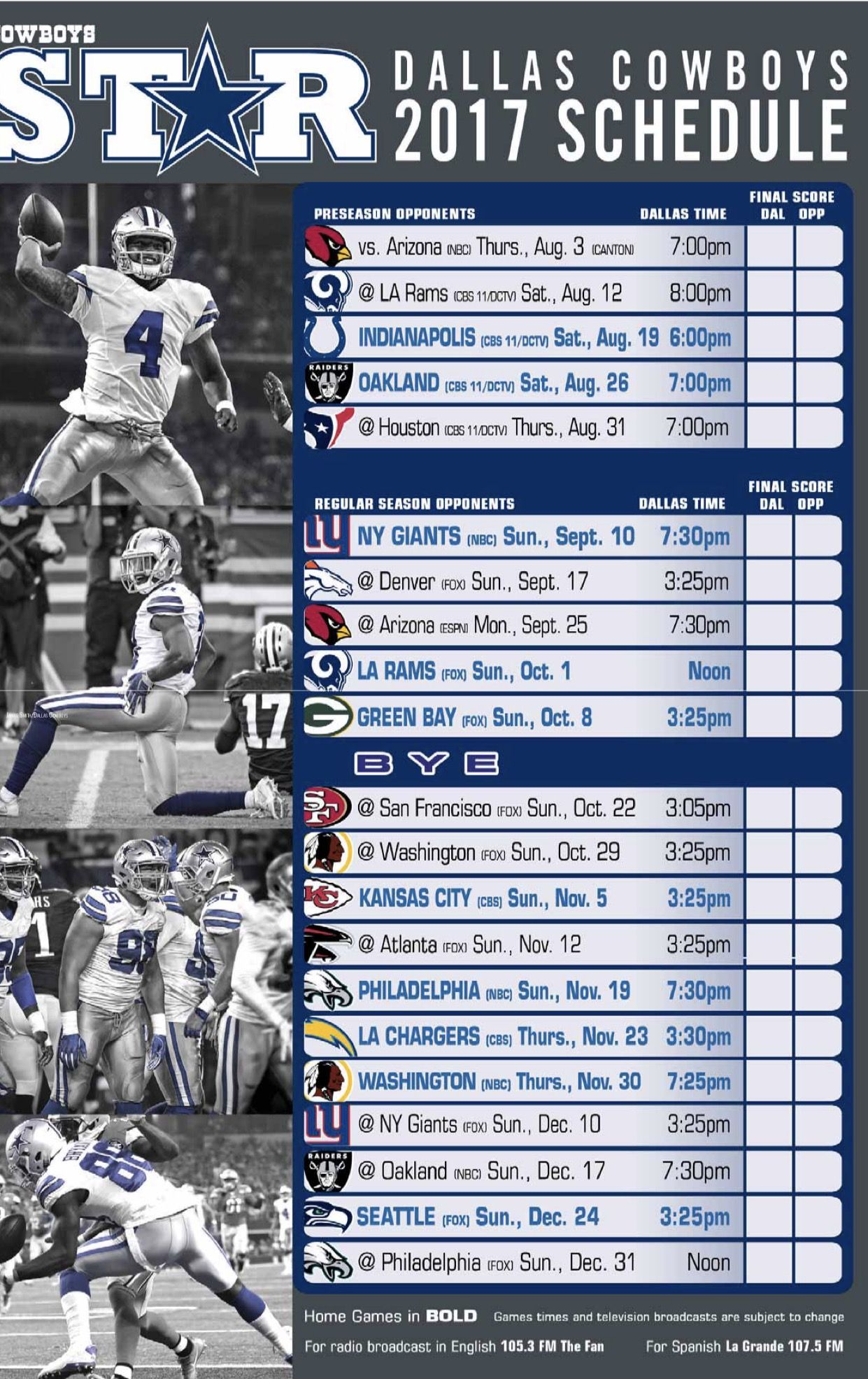 Dallas Cowboys 2017 18 Season Schedule How Bout Them