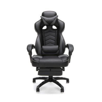 Reclining Gaming Chair With Footrest Gray Respawn Gaming Chair