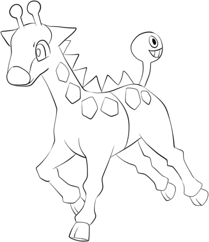 Click To See Printable Version Of Girafarig Coloring Page