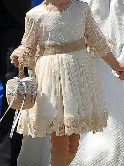 A Line Long Sleeve Lace Flower Girl Dresses Above Knee