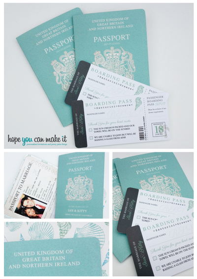Passport wedding invites in my facve colour get these beauties from passport style wedding invitations designed by hope you can make it these would be perfect for a beach wedding abroad stopboris Image collections