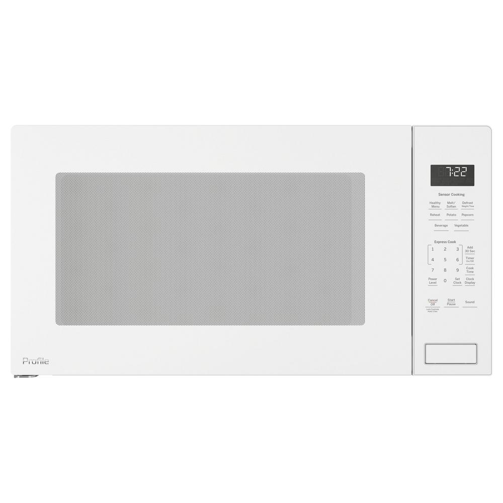 Ge Profile 2 2 Cu Ft Countertop Microwave In White With Sensor