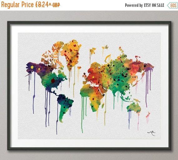 Watercolor WORLD Map illustrations Art Print Wall Wedding Gift