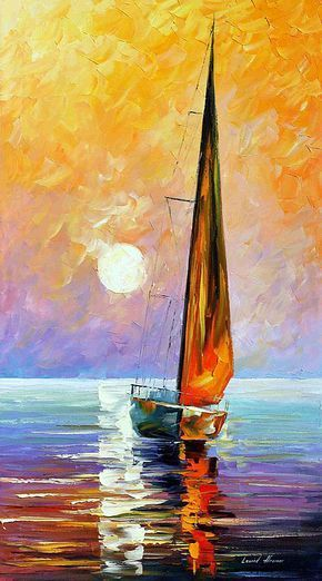 GOLD SAILBOAT — PALETTE KNIFE Oil Painting On Canvas By Leonid Afremov