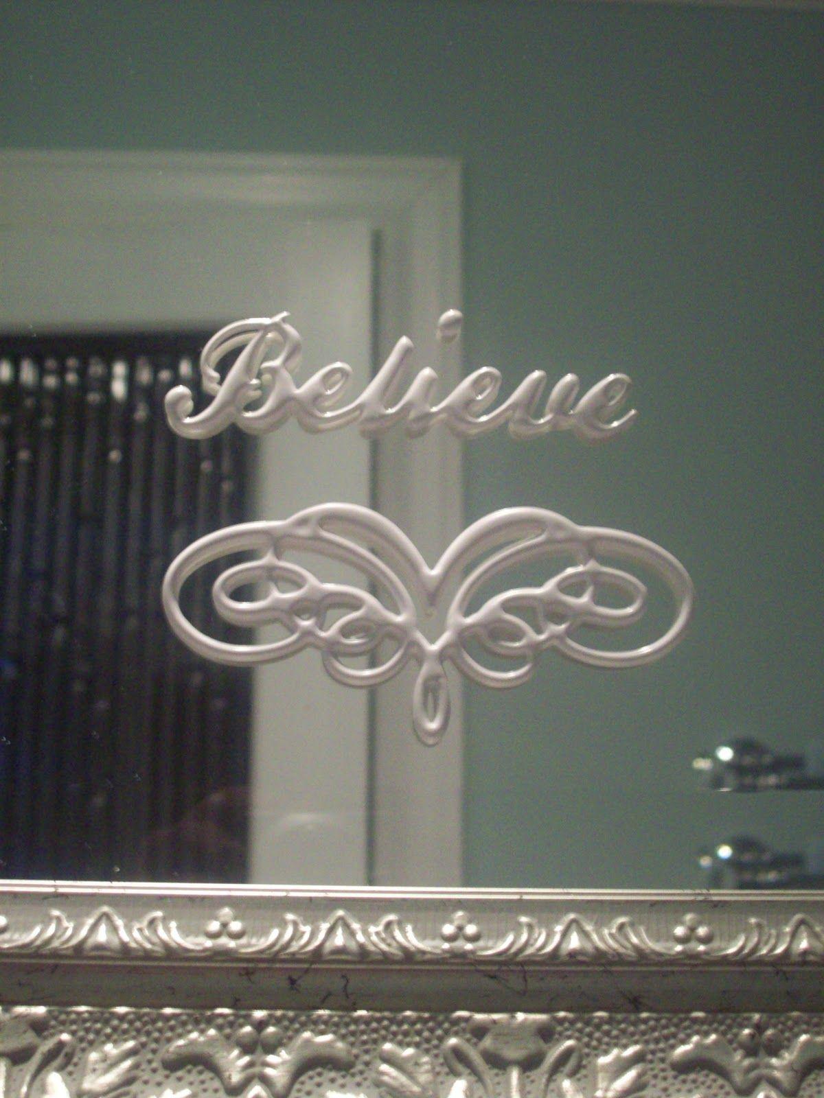 Write on bathroom mirror with spray snow and stencil