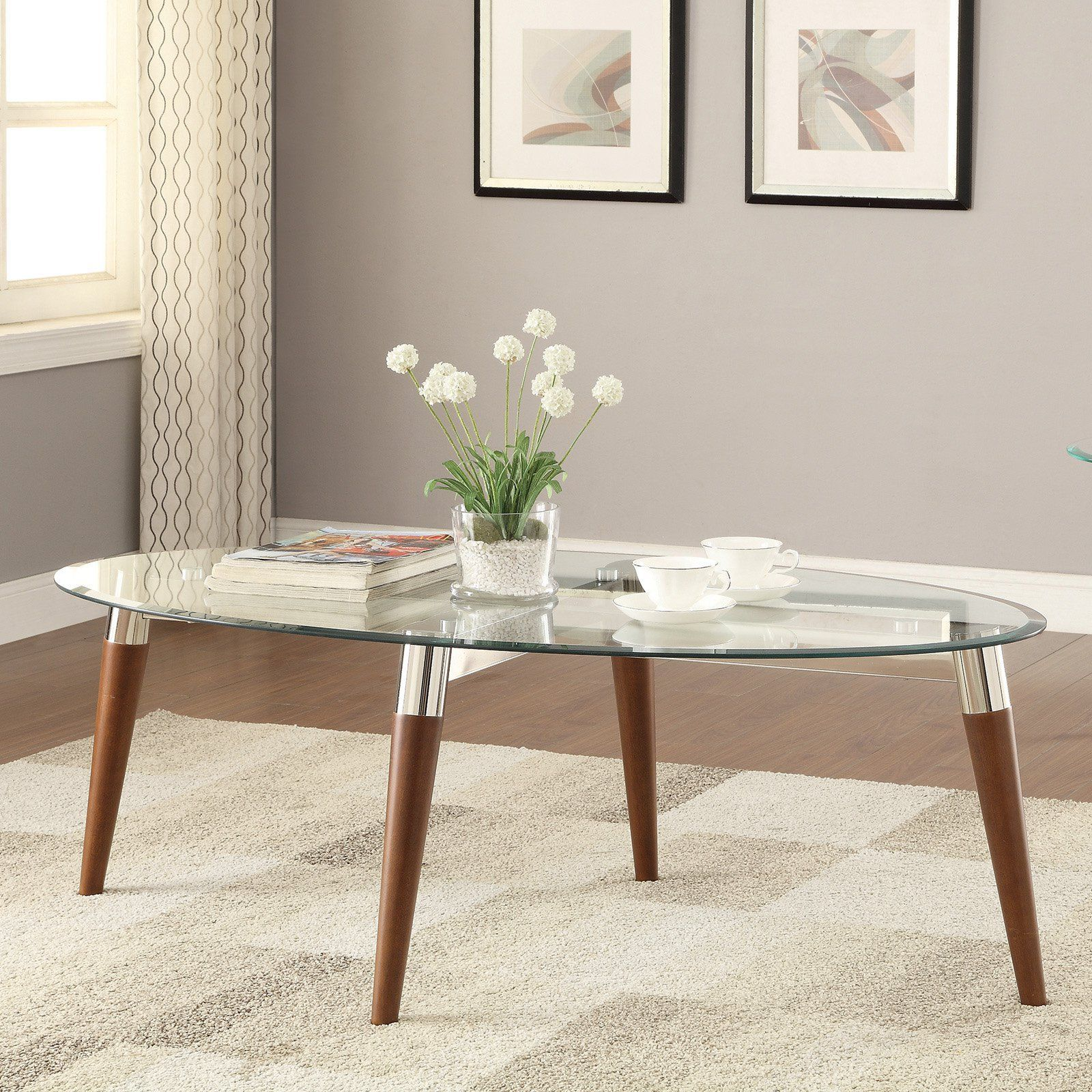 Coaster Furniture Oval Glass Top Coffee Table