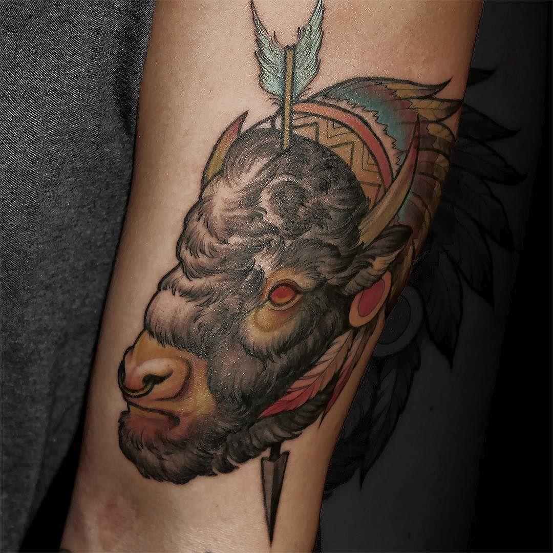 Buffalo Tattoo Neotraditional Animal Tattoo Portrait Tattoo Portrait