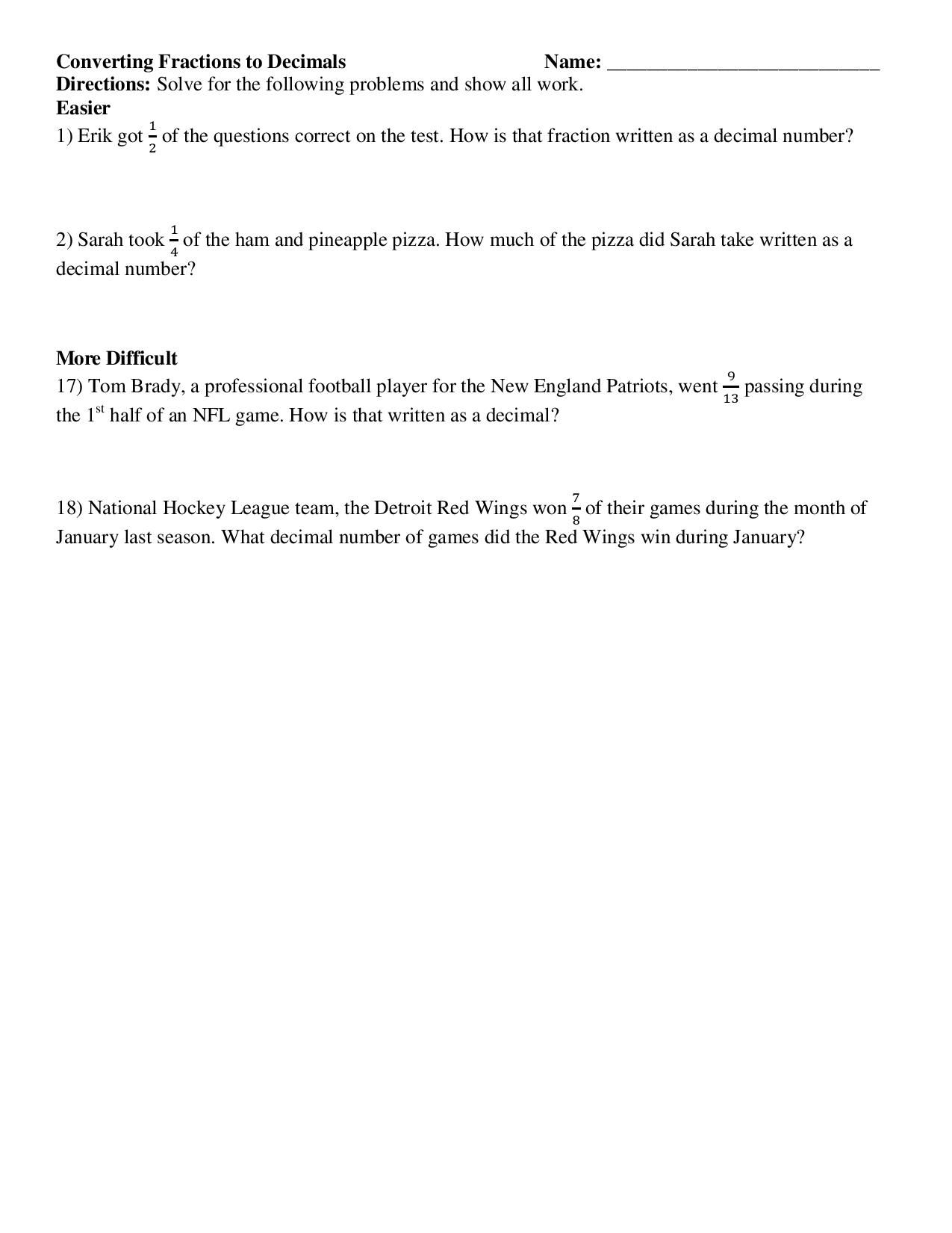 Common Core Worksheet Converting Fractions To Decimals