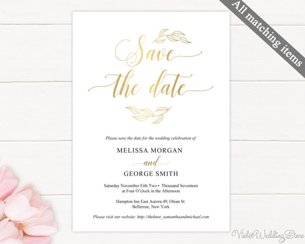 Gold Save The Date Card Save The Date Template Printable Save The