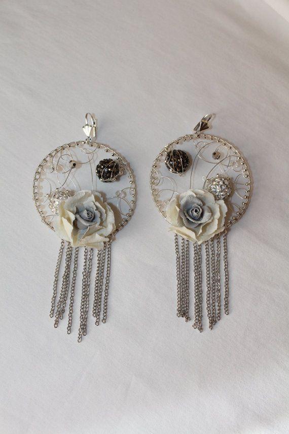 Round jewelry earrings, cold porcelain Rose flowers dangle earrings, Long handmade earrings, nice gift