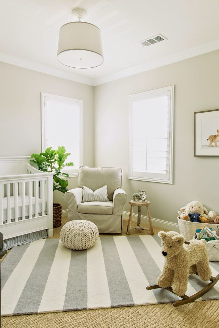 Modern Neutral Nursery Design Featuring A White Beige And Gray Color Palette Drum Shade Ceiling Fixture Cream Walls Trim