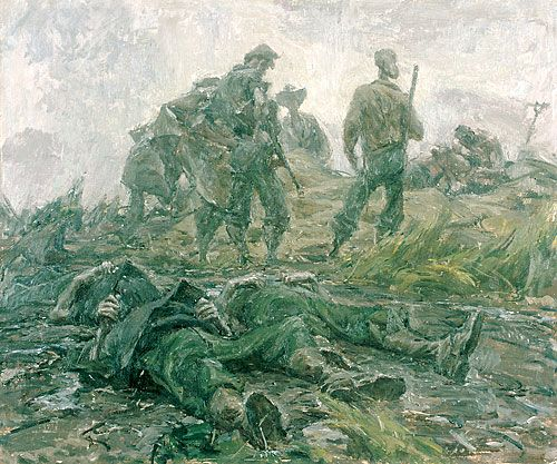 ivor hele battlefield burial of three ncos 1944