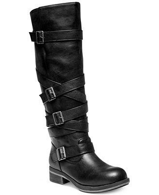 e7a1cc66fb9 Madden Girl Lilith Wide Calf Tall Shaft Strapped Buckle Boots... I want  these but definitely in brown!