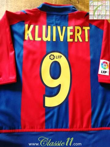 c9010b3385c Official Nike Barcelona home football shirt from the 2002 2003 season.  Complete with Kluivert