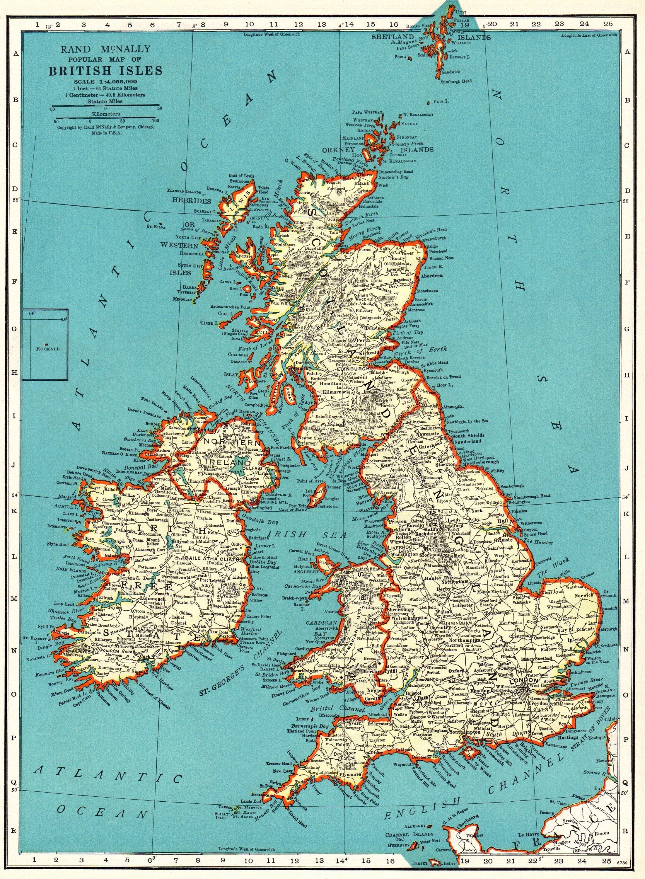 1938 Vintage BRITISH ISLES MAP Antique United Kingdom Map