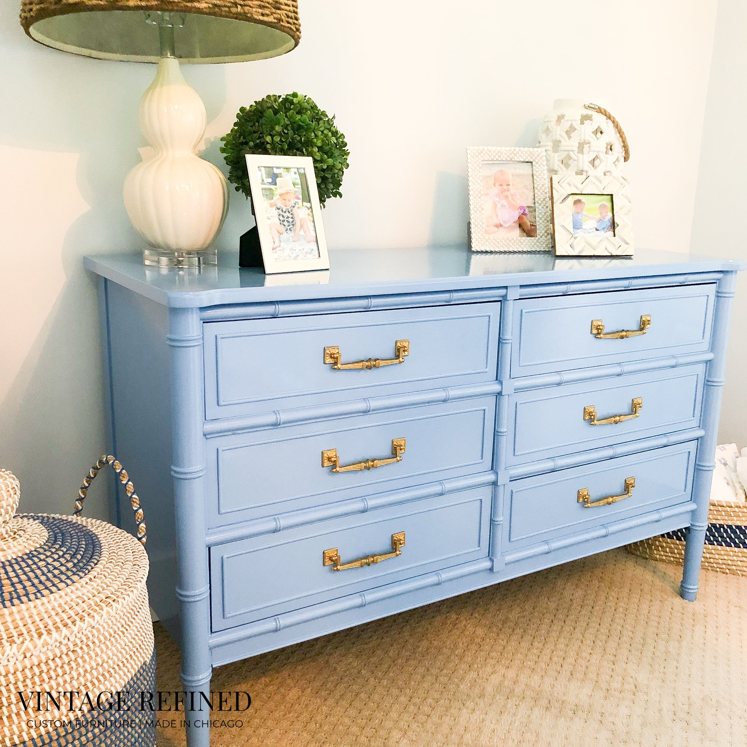 Vintage Refined How To Pull Off A Blue White Nursery For A Girl White Gloss Bedroom Furniture Furniture Changing Table Dresser
