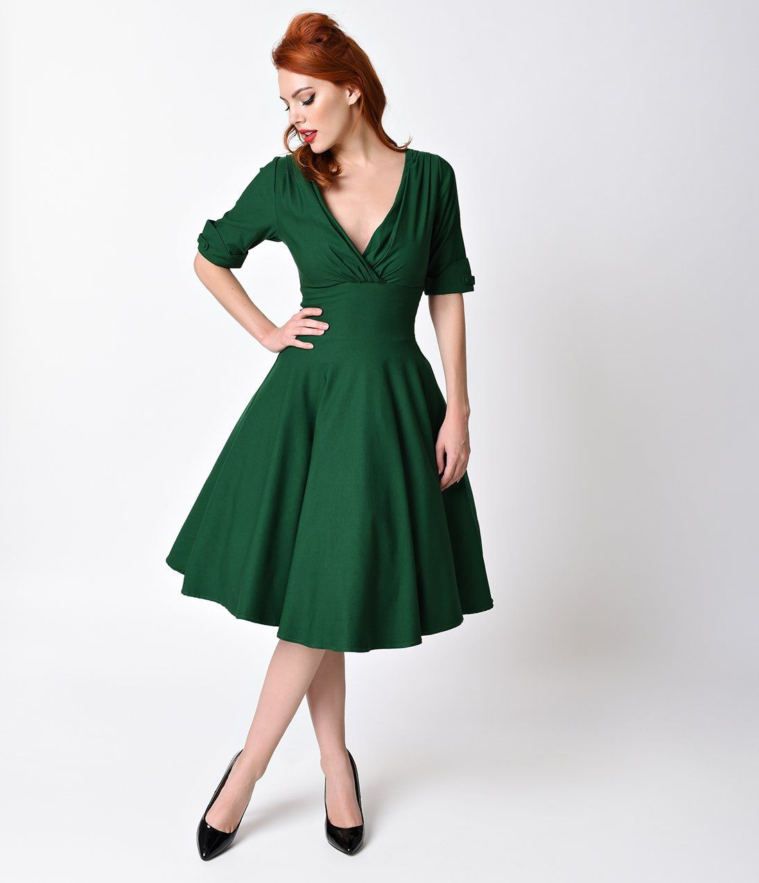 d09e365f64e9 1950s Dresses, 50s Dresses | Swing, Wiggle, Pin Up Dresses 1950S Emerald  Green Delores Swing Dress With Sleeves $88.00 AT vintagedancer.com