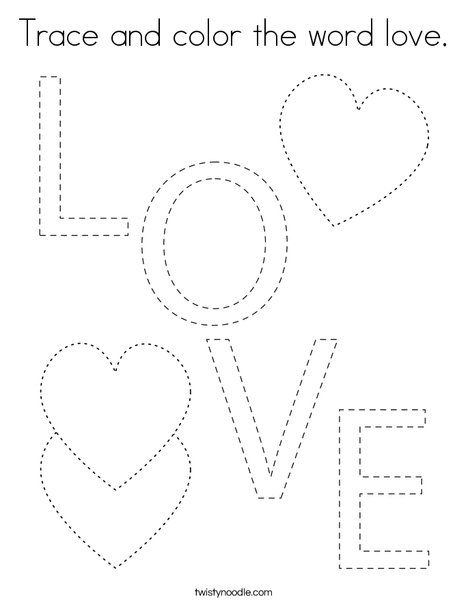 Trace and color the word love Coloring Page - Twisty ...
