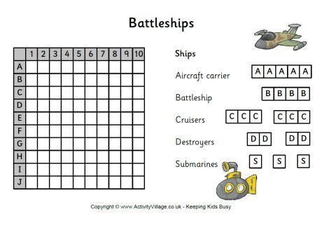 Battleships game printable Activities Pinterest Battleship and