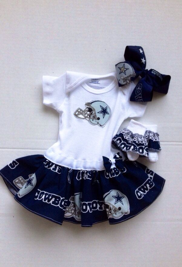 Dallas Cowboys Baby Clothes Inspiration Dallas Cowboys Dress Babygirl Onesie With Custom Hairhoneelou Decorating Inspiration