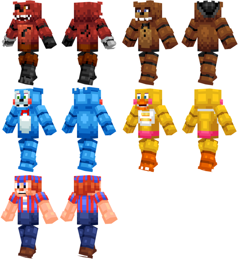 Mundo MCPE Skin Pack De Skins FNAF Minecraft PE V RILEY - Skins para minecraft pe five nights at freddys