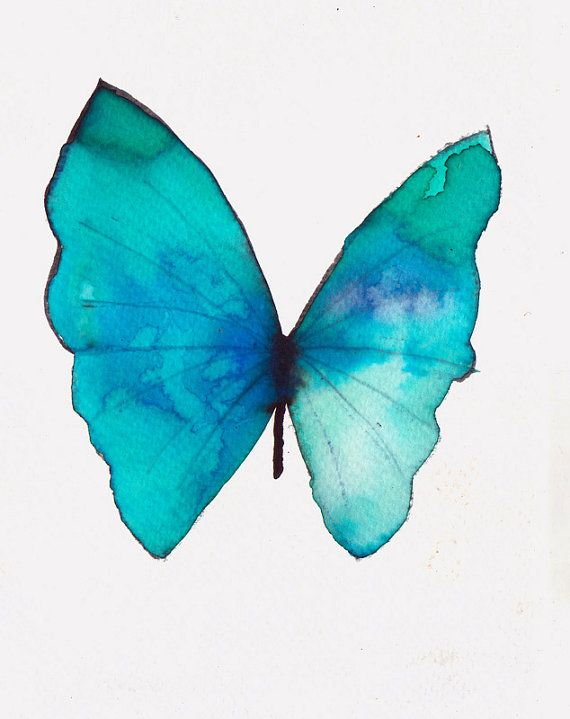 Turquoise And Azure Blue Butterfly Original Watercolour