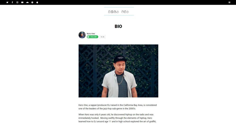 About me page of this DJ and hip-hop artist tells you his