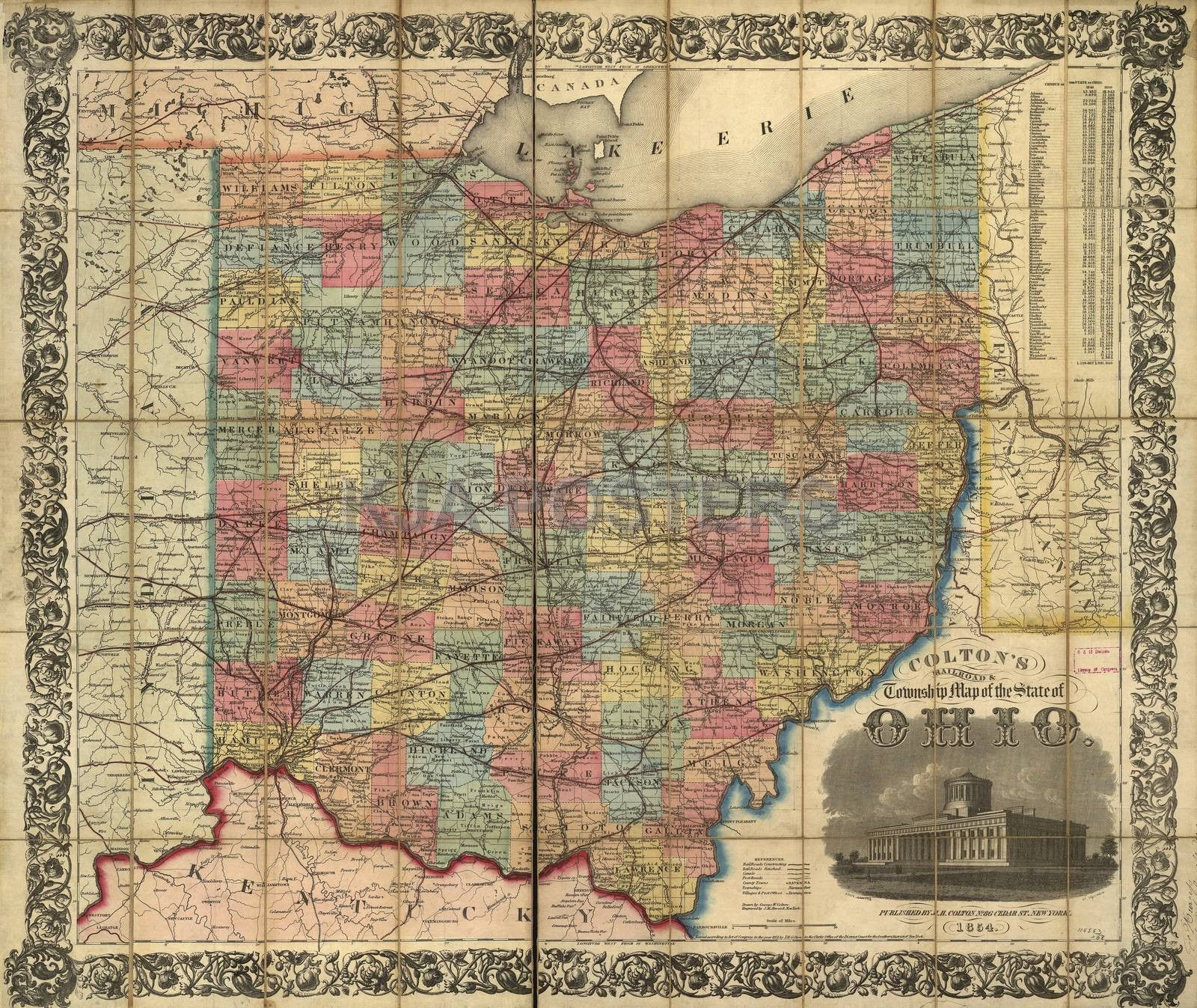 Railroad Rail Train Historic Map Ohio 1854 Products