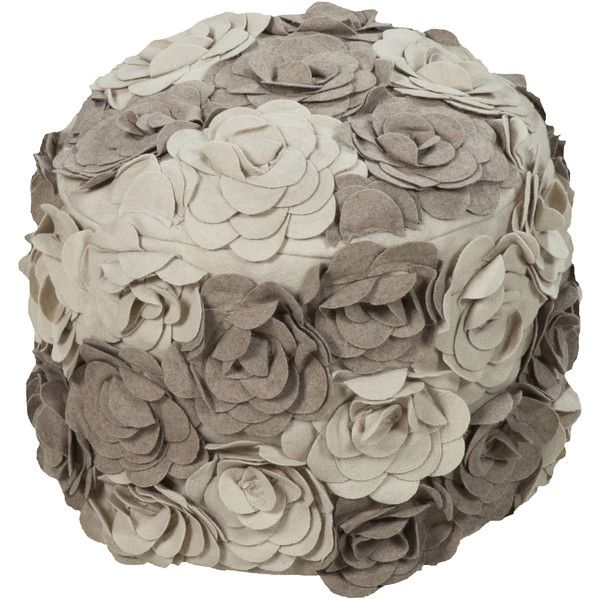 Surya Floral Dole Round Wool 18-inch Pouf ($128) ❤ liked on Polyvore featuring home, furniture, ottomans, red, red ottoman, red furniture, floral furniture, wool ottoman and patterned ottoman